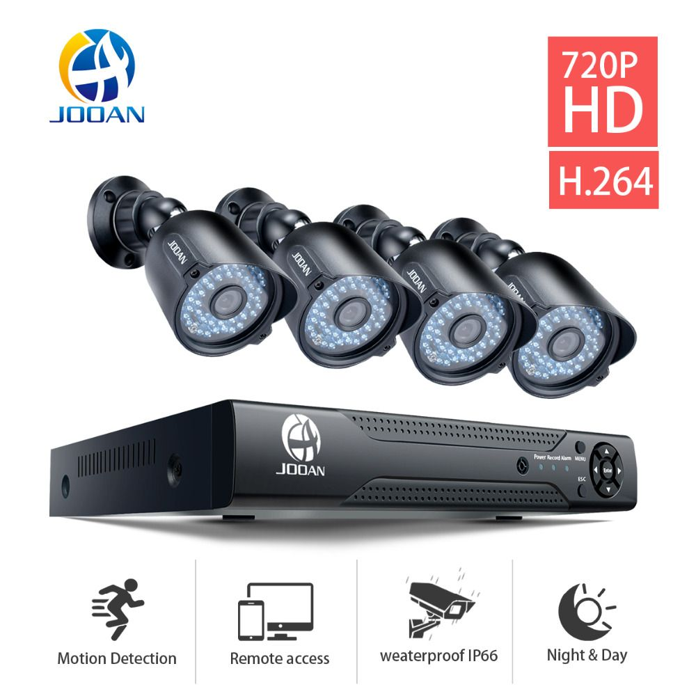 JOOAN 8CH DVR CCTV Video Recorder 4PCS 720P Home Security <font><b>Waterproof</b></font> Night Vision security Camera system Surveillance Kits