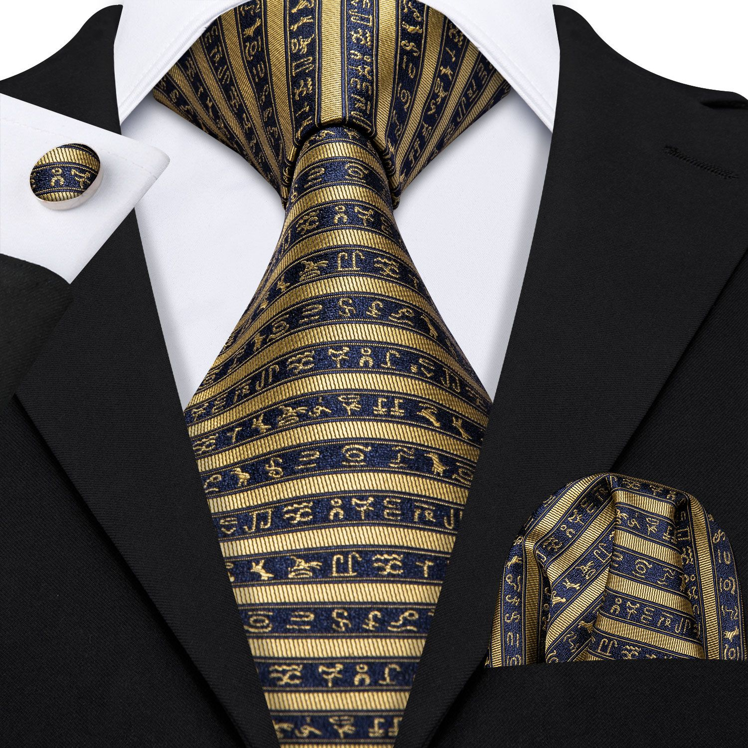 Classical Zebra Striped Tie For Mens Silk Necktie Hanky Gift Box Set Jacquard Men Tie Gold Black Men Tie Set Barry.Wang LS-5173