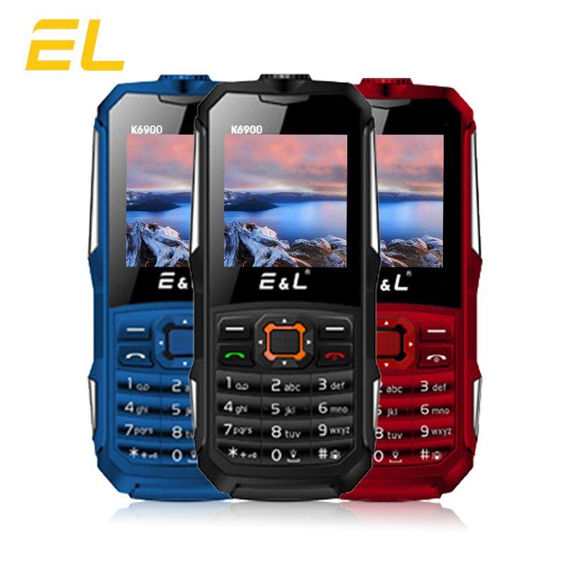 E & L K6900 Original Robuste Téléphone Clavier IP68 Étanche Antichoc Grande Lampe de Poche Push-bouton 2G GSM Déverrouillé pas cher Chine Téléphone