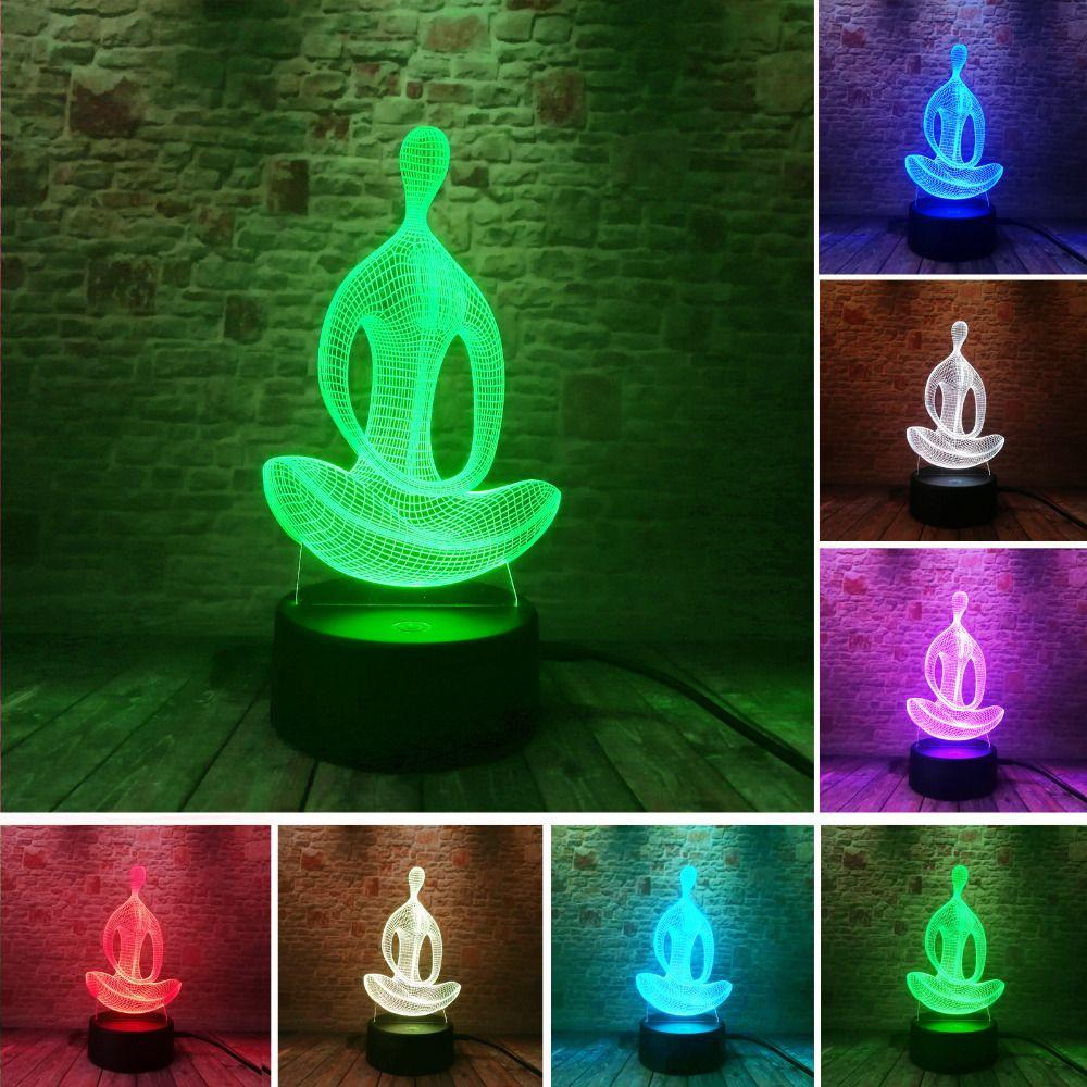 3D 7 Changement de Couleur De Yoga LED La Méditation de Acrylique Nuit lumière Chambre Illusion Lampe salon De Chevet Décor De Noël Nouvelle Année cadeau