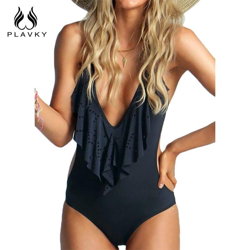 Sexy Plunging Neck Flouncing <font><b>High</b></font> Cut Trikini Push Up Monokini Bathing Swim Suit For Women Thong Swimwear One Piece Swimsuit