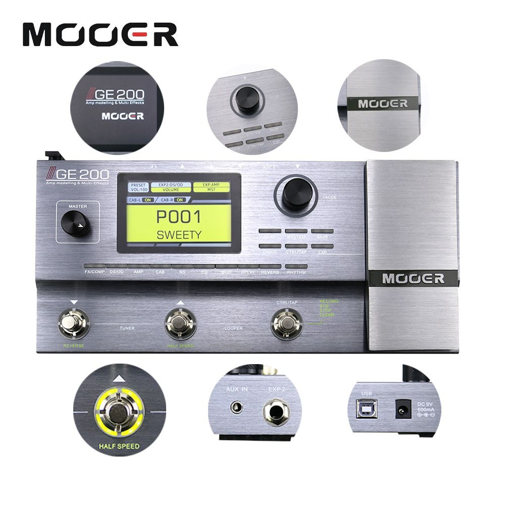 Mooer GE200 Amp modelling Multi Effect Processor Pedal With 26 IR Speaker Cab Model 52 Second Looper 55 Amplifier Models