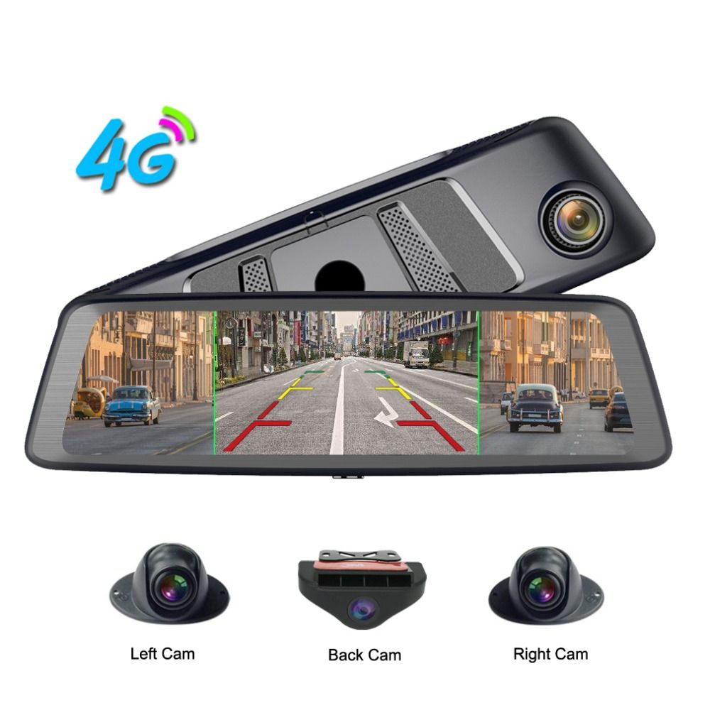 Zuczug 360-grad panorama 4CH Kameras objektiv 10 Touch Android Navi auto kamera gps rückspiegel dvr stick recorder ADAS WIFI