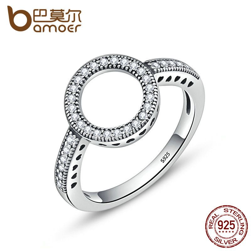 2017 Christmas DEALS 100% Genuine 925 Sterling Silver Forever Clear CZ Circle Round Finger Rings for Women Jewelry SCR041