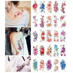 Rosa Flores brazo hombro tatuaje pegatinas flash Henna tatuaje falso impermeable tatuajes temporales etiqueta mujeres en el cuerpo