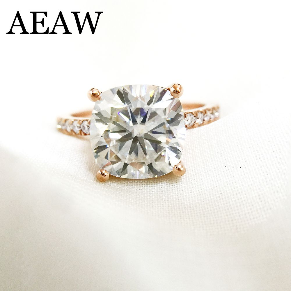 3.5 Carat ct Cushion Cut Engagement&Wedding Moissanite Diamond Ring Double Halo Ring Genuine 14K 585 Rose Gold