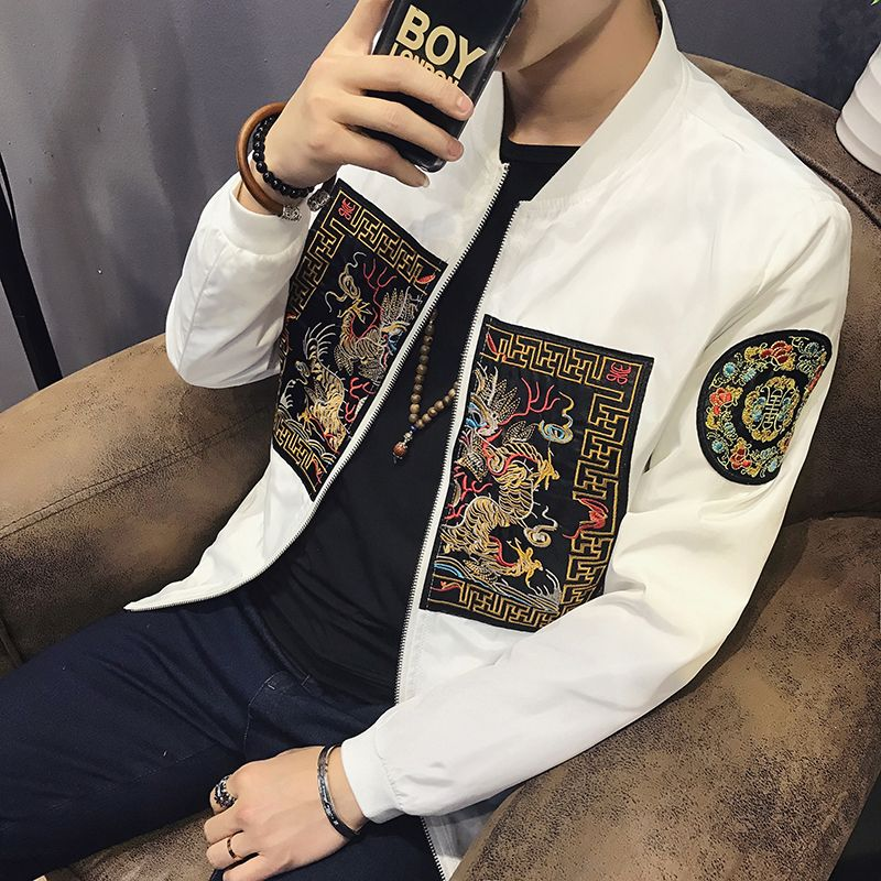 Spring Bomber Jacket Men 2018 New Fashion Chinese Long Pao Jackets Men Slim Fit Long Sleeve Casual Mens Coats Windbreaker 5XL-M
