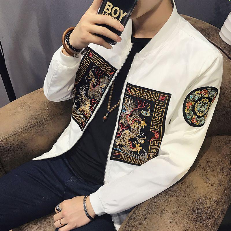 Spring Bomber Jacket Men 2018 New Fashion Chinese Long Pao Jackets Men Slim Fit Long Sleeve Casual Mens Coats Windbreaker 5XL-M