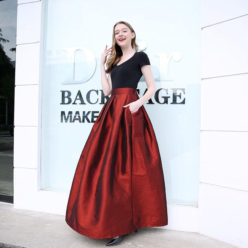 2018 mode jupes longues femmes Faldas taille haute plissée femmes étage longueur Jupe grande taille élastique élégant dames Jupe jupes