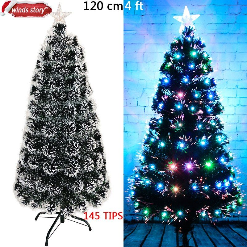 Christmas tree 4'/5'/6' Fiber optic LED Colour Changing Traditional Artificial Green Flash Xmas tree gift Christmas decorations