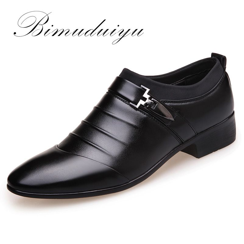 BIMUDUIYU Luxury Brand Artificial Leather Mens Formal Shoes Dress Shoes Fashion Business Affairs Design Oxford Wedding Shoes