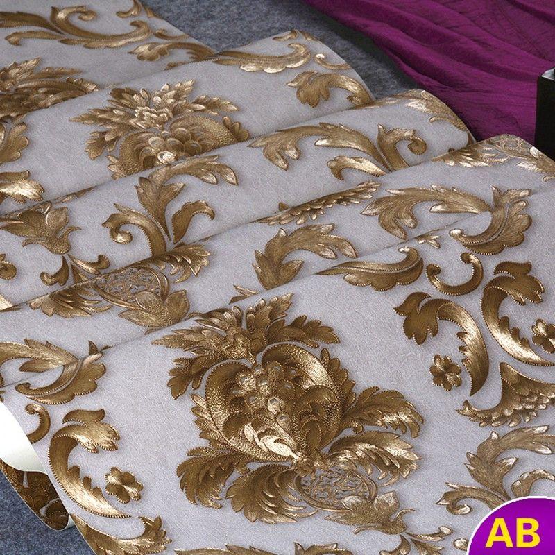 Beibehang papier peint européen gaufré doré damas papier peint 3D papier peint pour murs 3 d papier peint décor à la maison rouleau papier peint