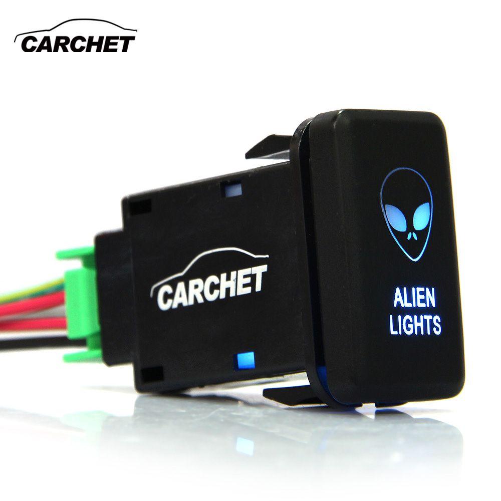 CARCHET 12 v-24 v Kippschalter SPST Push-Taste Zwei Lichter Blau für Toyota DIY Alien Auto Auto für Toyota Taste Licht Schalter
