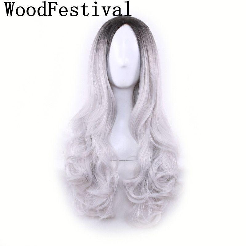 WoodFestival vert violet gris rose longue ondulée Ombre synthétique perruque résistant à la chaleur haute température Fiber Cosplay perruques pour les femmes