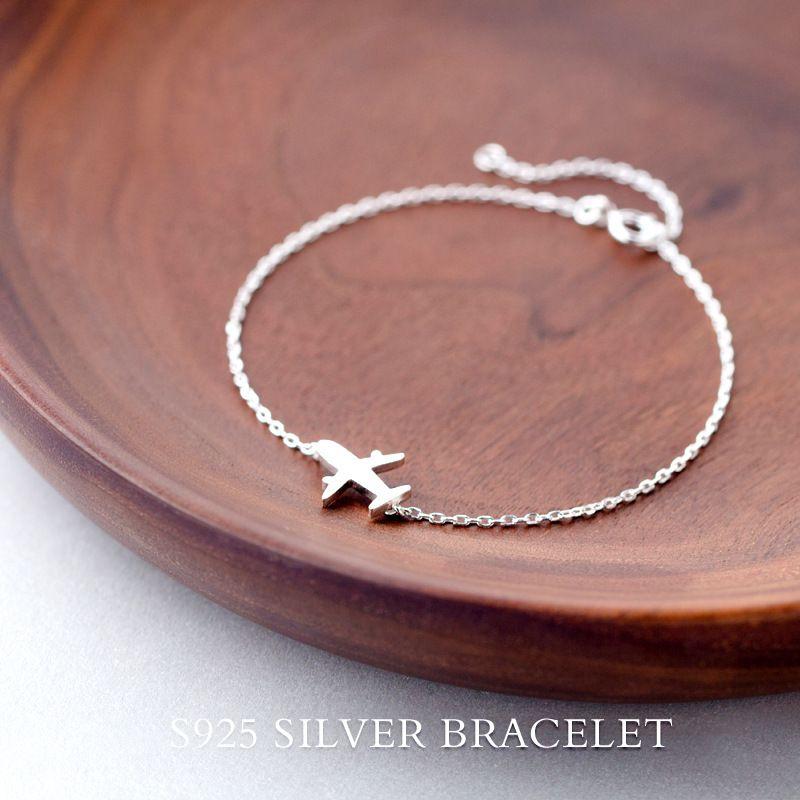 Réel. 925 bijoux en argent Sterling mat avion avion avion chaîne bracelet réglable charme sterling-argent pour les filles femme