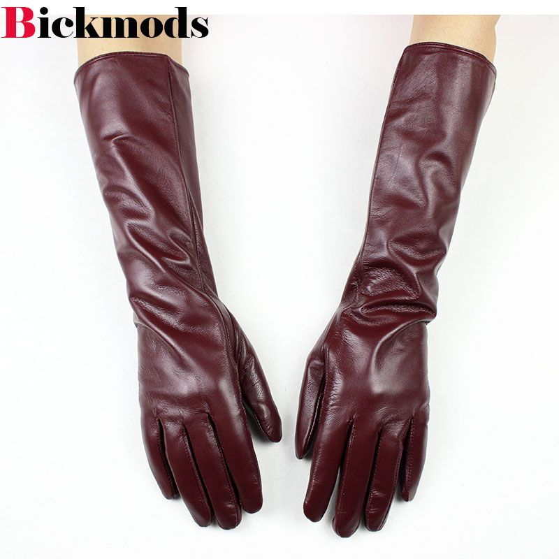 2018 New Long sheepskin gloves female long division refers brown leather gloves <font><b>thin</b></font> cashmere armband warm jacket free shipping