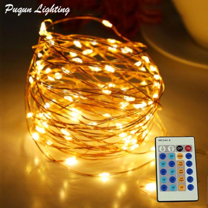 Télécommande 10 m 20 m 30 m 50 m LED guirlandes lumineuses fil de cuivre extérieur LED décoration arbre lumineux de noël + adaptateur secteur