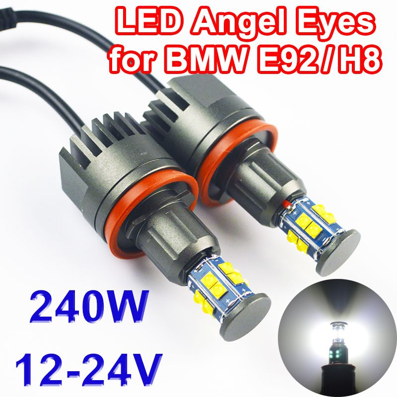 Flytop 2*120W 240W H8 Angel Eyes LED Marker for CREE LED Chips XTE 4800LM White 7000K for BMW E90 E92 X5 E71 X6 E82 M3 E60 E70
