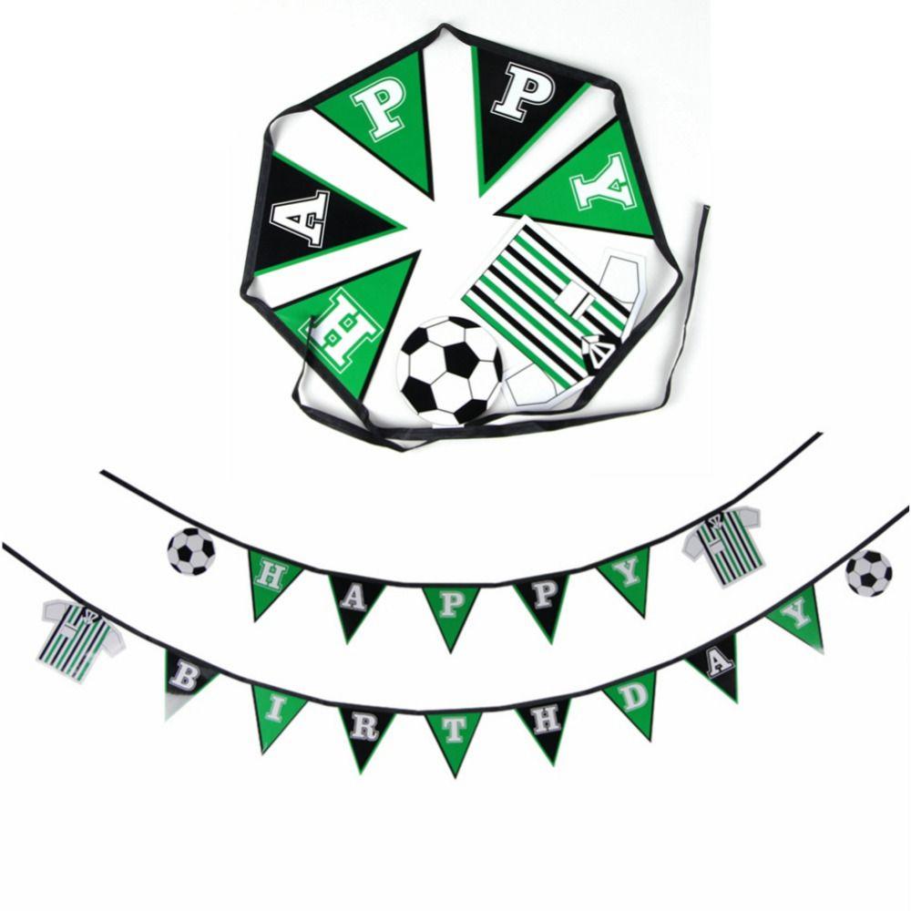 Fußball Glücklich Geburtstag Banner Flagge Wm Banner Sport Thema Partei Banner Fußball Girlande für Kinderzimmer Jungen Foto Prop