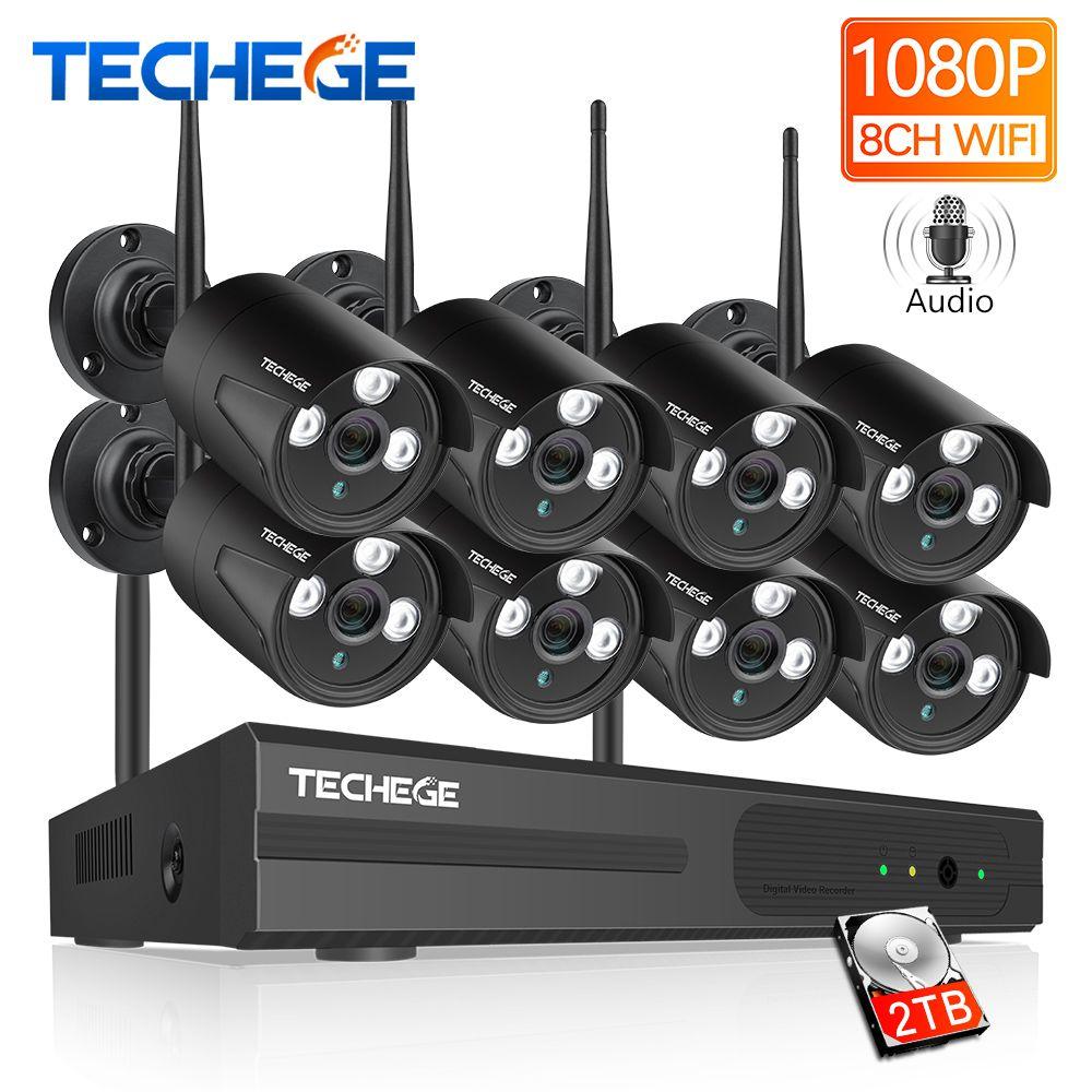 Techege 8CH 1080 P WIFI NVR Audio CCTV Kamera System 2MP Überwachung Sicherheit Kamera Wasserdicht Wireless IP Kamera Video Kit