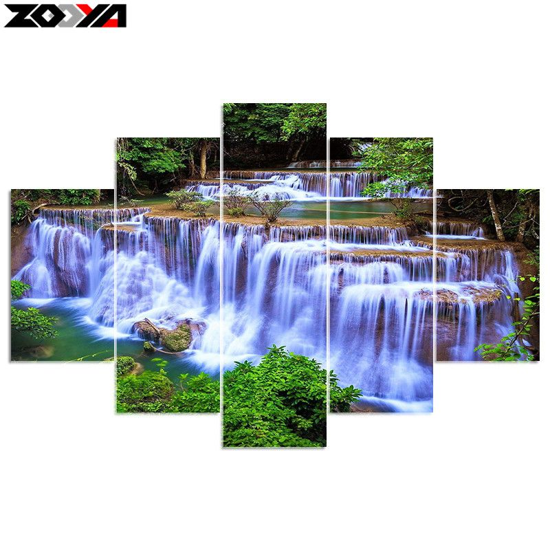 ZOOYA 5D DIY diamond embroidery forest waterfall scenery diamond painting Cross Stitch full square Rhinestone <font><b>decoration</b></font> gift