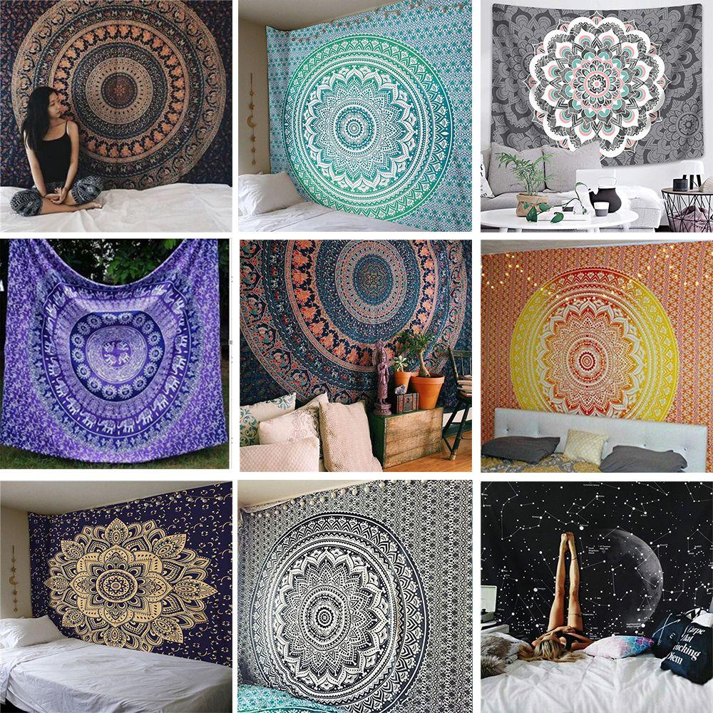 India Mandala Tapestry Wall Hanging Macrame Wall Cloth Tapestries Psychedelic Hippie Night Sky Moon Tapestry Mandala Wall Carpet
