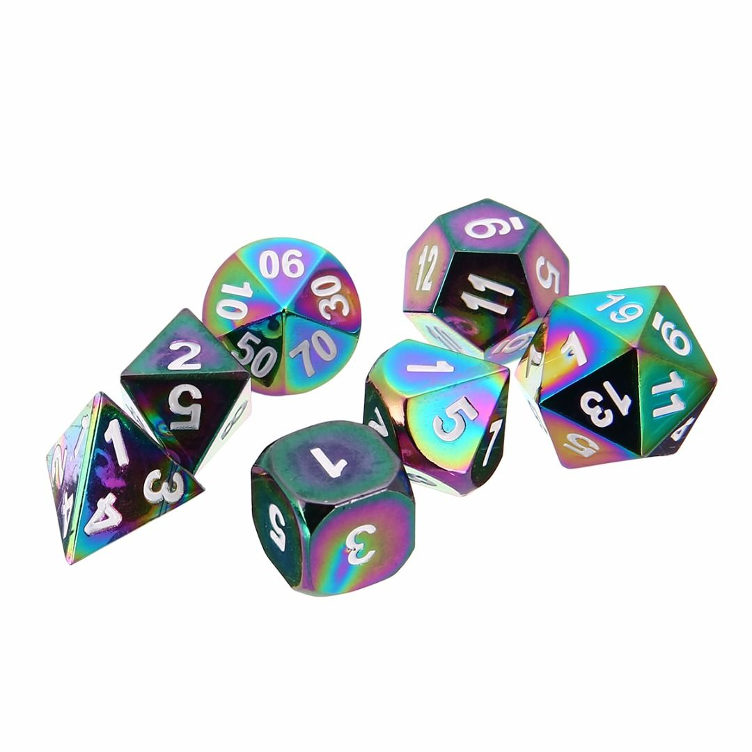 7Pcs/Set New Rainbow Polyhedral Dices Set DND/RPG MTG Role Playing Board Game Colorful Zinc Alloy Dice with Bag