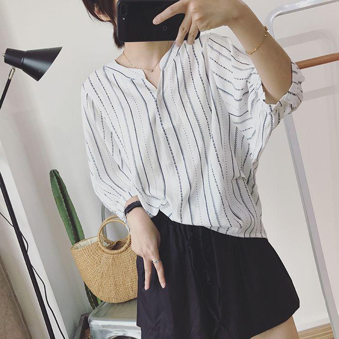 Sommer Bereit Bequeme Leinen Korea Einfache Leinen Mantel Kragen Kleine Split Gabel Lose Dünne Halb Sleeved Hemd Weibliche