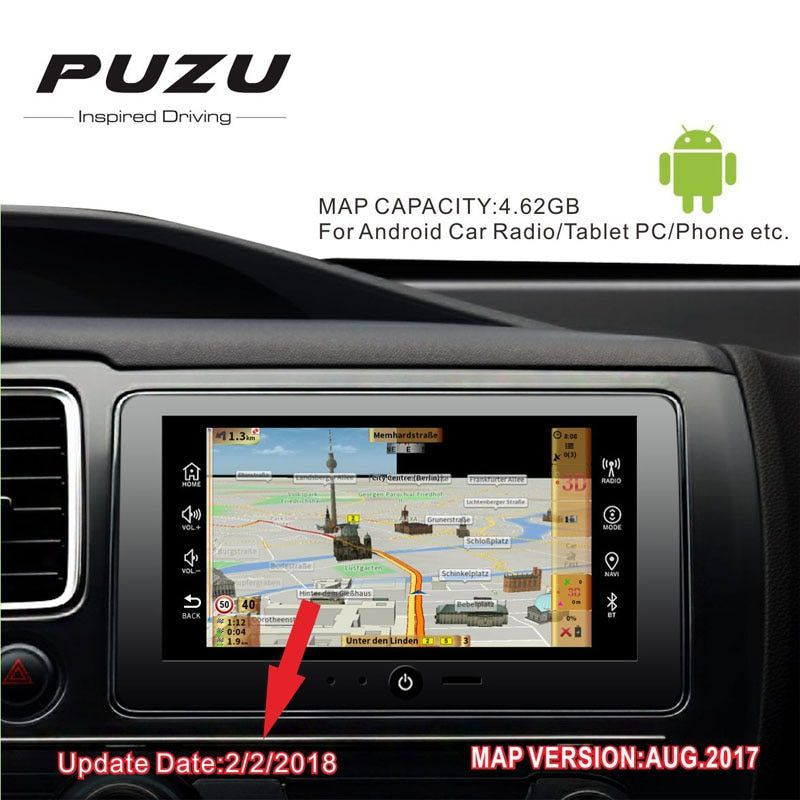 GPS MAP 2018 version with 8G card Russia/Spain/France/Germany/Italy whole Europe 49 countries for Android device car navigation