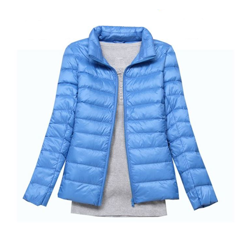 2017 fashion women keep warm Super light thin 90% White duck down jacket/femininity Stand collar Large size down coat