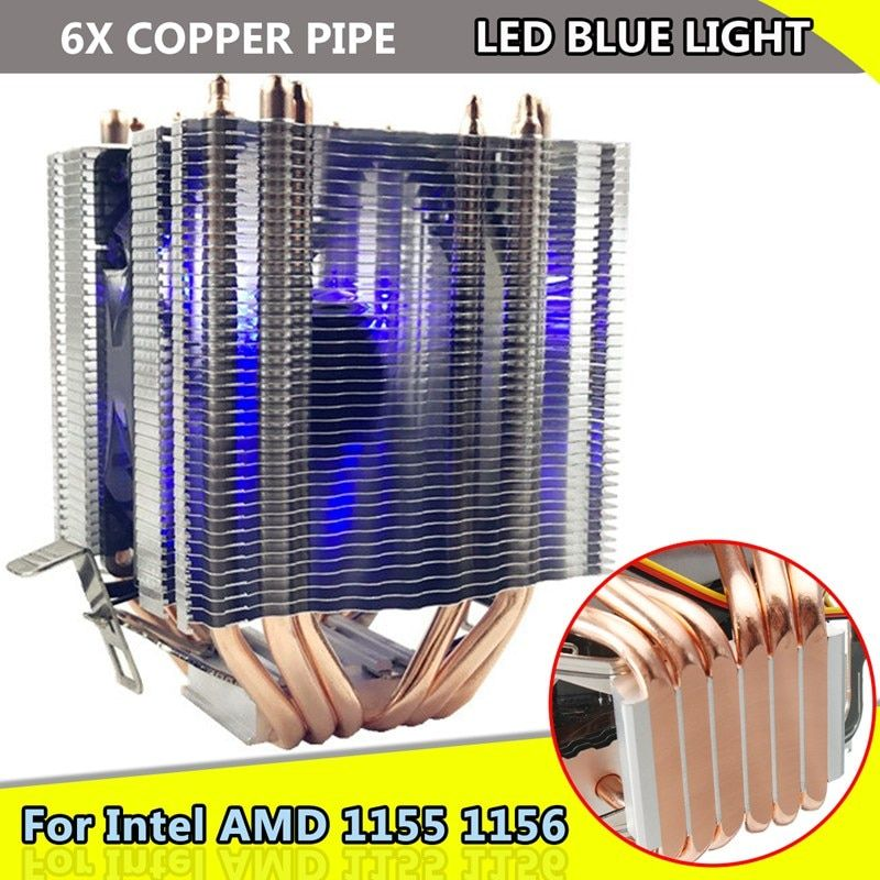 for Intel LAG 1155 1156 for AMD Socket AM3/AM2 LED Blue Light CPU Fan 6xHeat Pipe Computer 12V 3Pin Cooler Cooling Fan Heat Sink