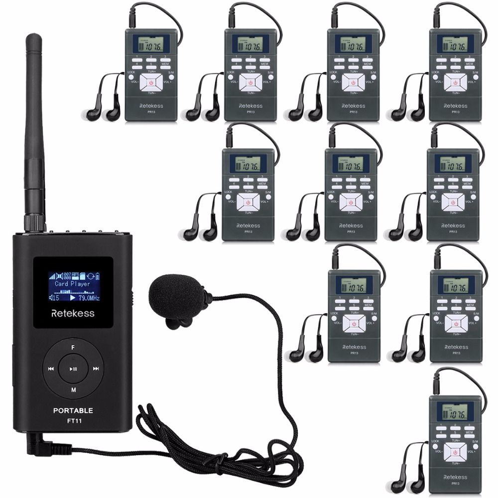 RETEKESS Professional Wireless Tour Guide System For Car Meeting Teaching With 0.3w Handheld FM Transmitter + 10 Radio Receivers