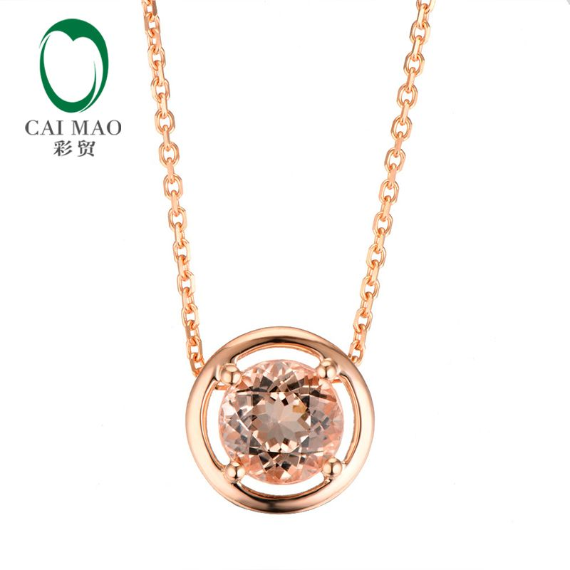 CaiMao 18KT/750 Rose Gold 1.88 ct Natural IF Morganite Engagement Gemstone Pendant &18
