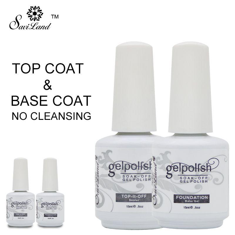 Saviland 2pcs Base Coat & Top Coat Set Gel Nail Polish Soak Off Long Lasting Gel Varnish 15ml UV LED Nail Gel Lacquer