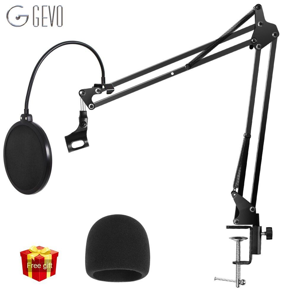 GEVO NB-35 Microphone Holder Suspension Arm Adjustable Stand Metal Boom Scissor Arm And Dual Layered Mic Pop Filter For BM 800