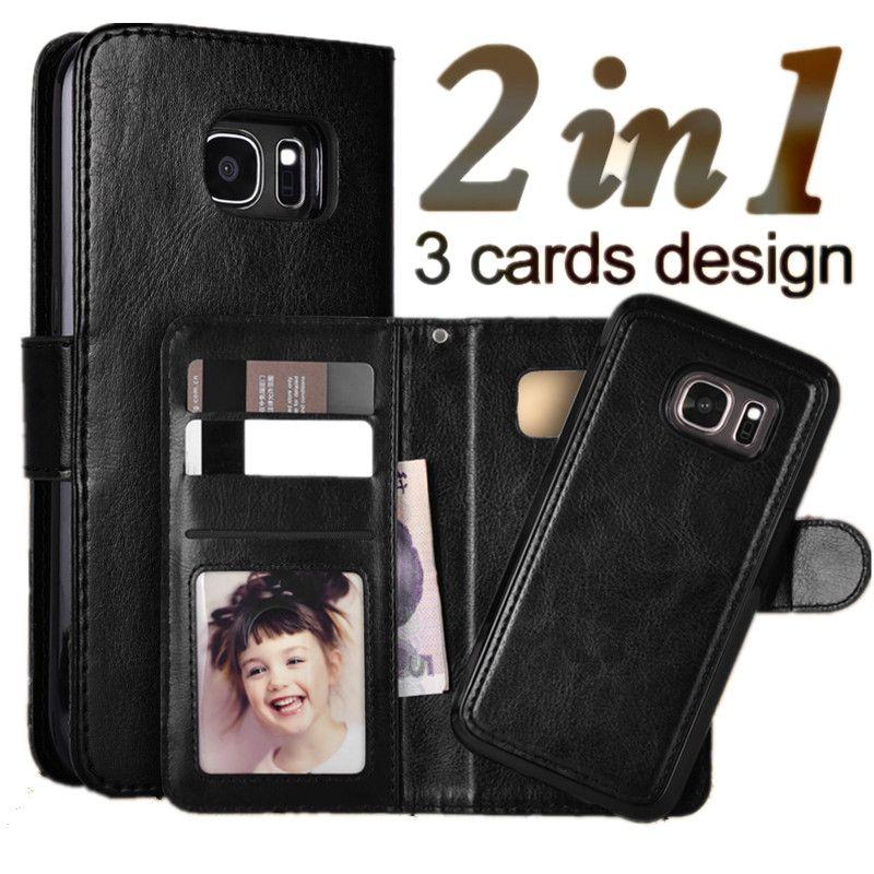 LANCASE Pour Samsung Galaxy S7 Bord Cas Magnétique Amovible Portefeuille Flip Étui en cuir Pour Samsung Galaxy S7 S6 S6 Bord Téléphone Cas