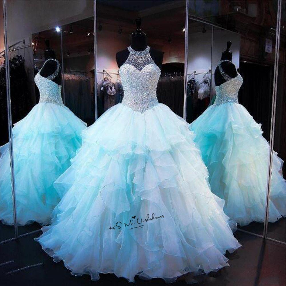 Vestidos de 15 Anos Quinceanera Kleider Debütantin 2017 Kleider Baby Blue Friesen Süße 16 Ballkleider Günstige Quinceanera Kleider