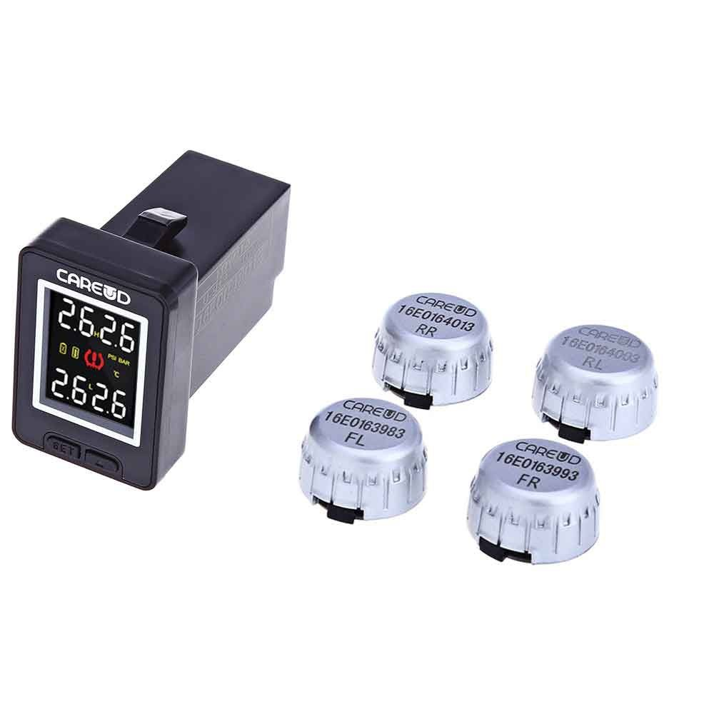 U912 TPMS Car Tire Pressure Wireless Monitoring 4 External/Internal Sensors and LCD Display Embedded Monitor for Toyota/Honda