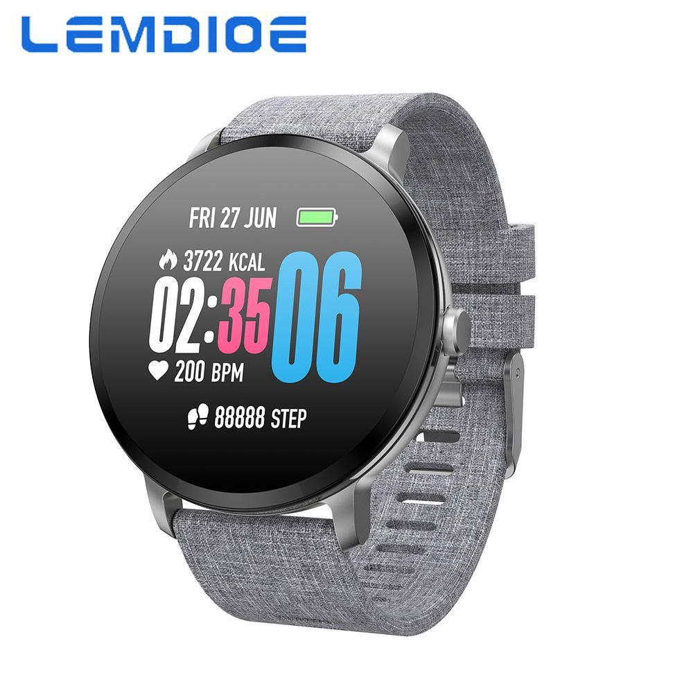 LEMDIOE Android Smart Watch Men Women 1.3 Inch Tempered Glass Screen IP67 Waterproof Blood Pressure Heart Rate Monitor IOS Watch