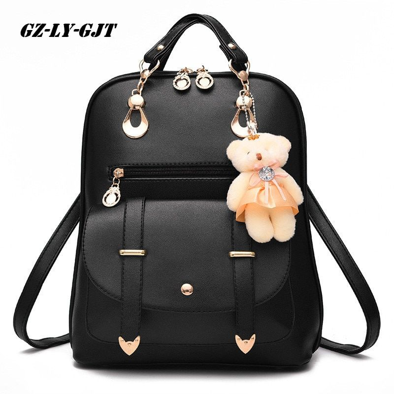 GZ-LY-GJT Bear Backpack Female School Bags For Girls Backpacks For Women Bag Travel Shoulder Bags sac a main PU Leather Backpack