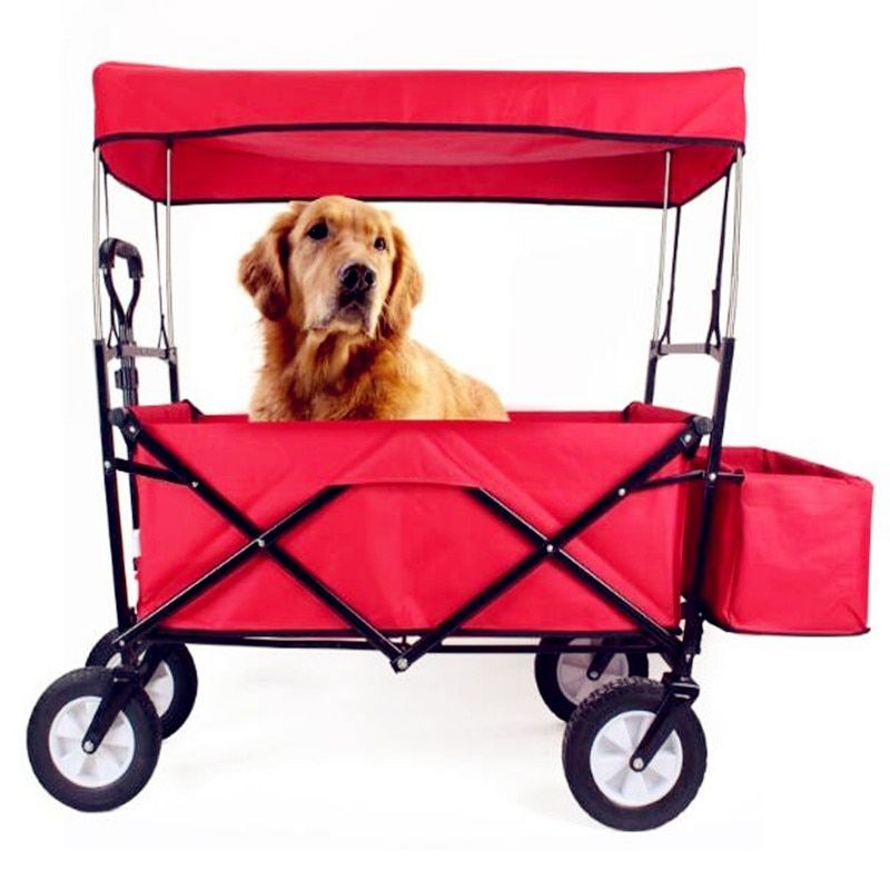Sports Collapsible Folding Utility Wagon Anti flies with Ceiling Shopping Cart 100L Large Capacity Loading 75kg Pet Stroller
