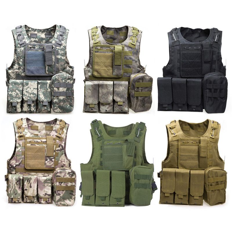 Outlife Camouflage Hunting Military Tactical Vest Wargame Body Molle Armor Hunting Vest CS Outdoor Jungle Equipment with 7 Color