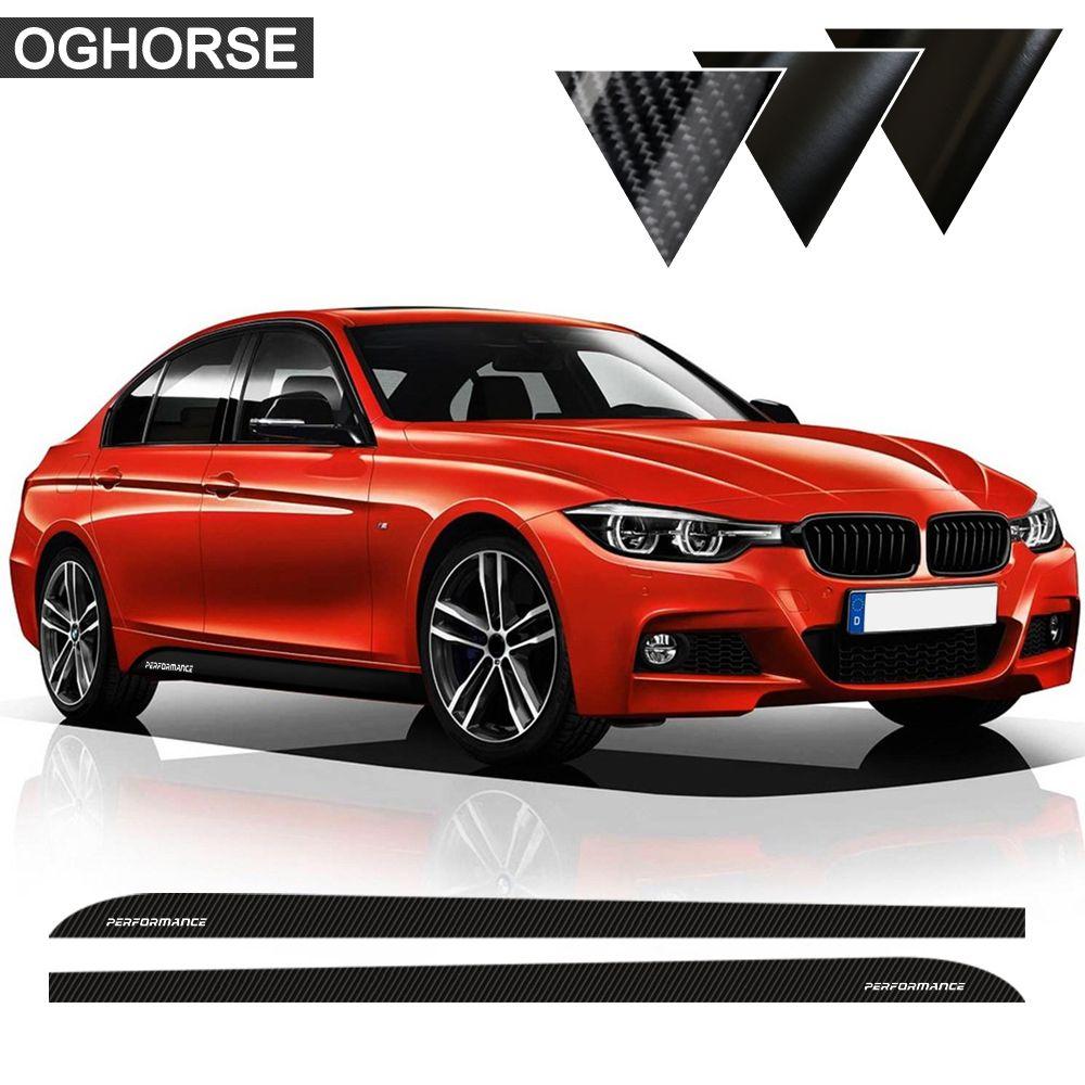 5D Fibre de carbone/mat/brillant noir M Performance côté jupe autocollant corps décalque pour BMW F30 F31 M-paquet M modèle voiture style