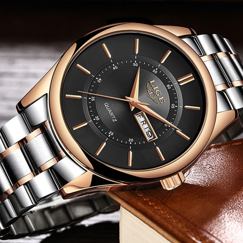 LIGE New Top Luxury Brand Watches Men's Fashion Casual Quartz Dress Watch Men Military sports waterproof clock relogio masculino