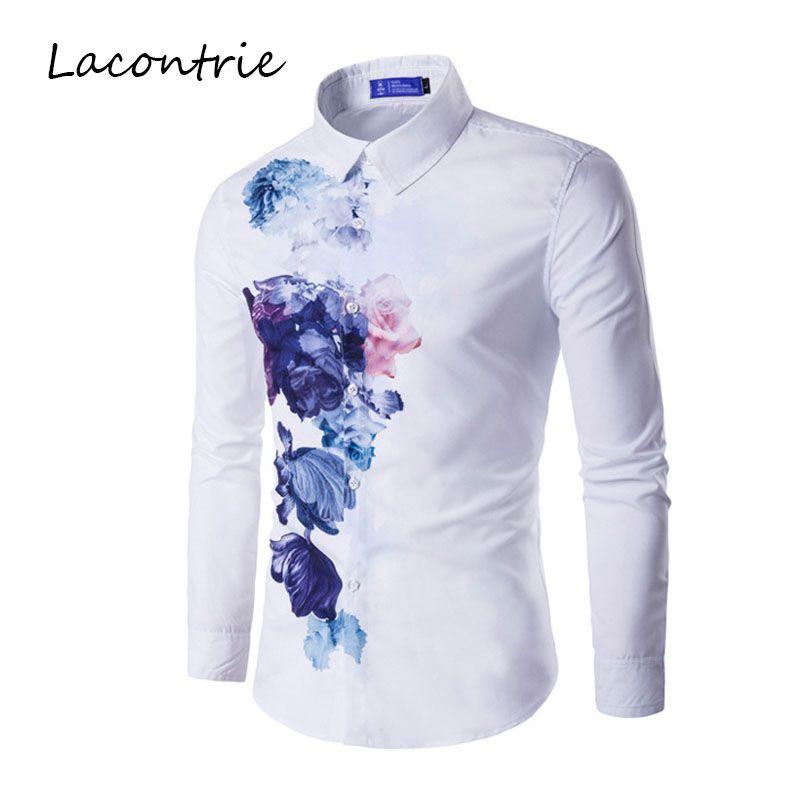 Sell Like Hot Cakes Long Sleeve Square Collar Print Dress Shirt Casual Shirt