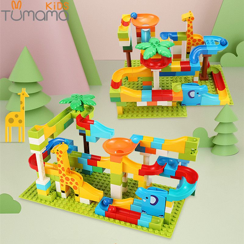 Tumama 52-143Pcs Marble Race Run Jungle Adventure Track Building Blocks Big Size Maze Ball Building Bricks Compatible Duploed