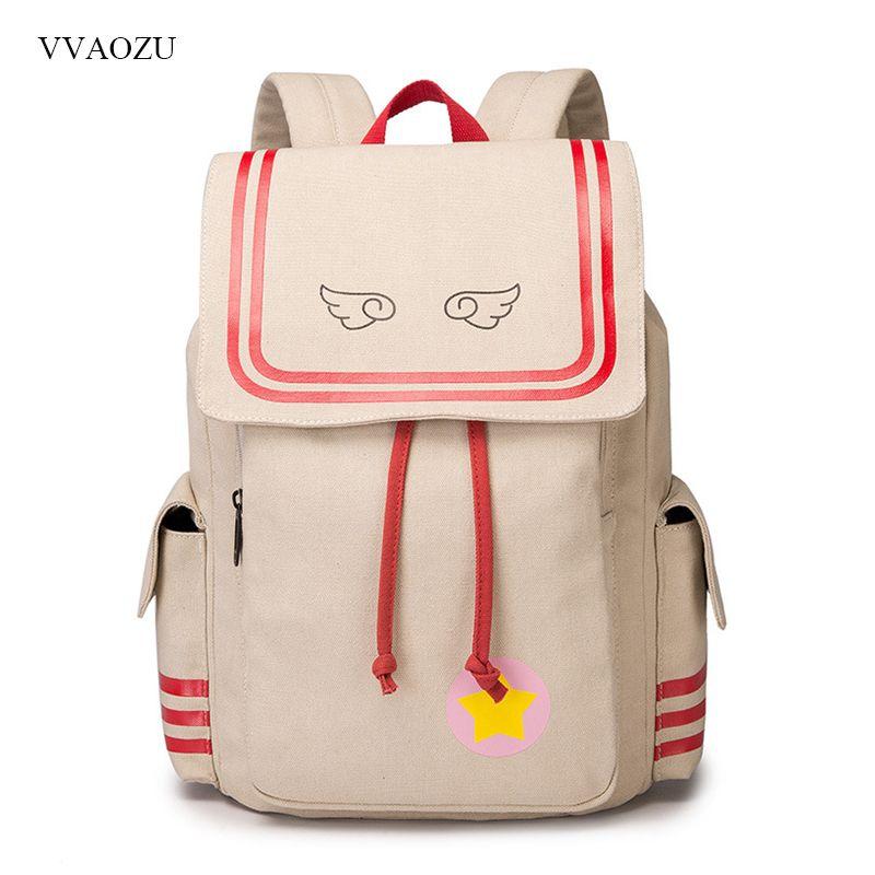 Cardcaptor Sakura Backpack Anime Card Captor Sakura Student Canvas Drawstring Student School Bags Mochila Feminina