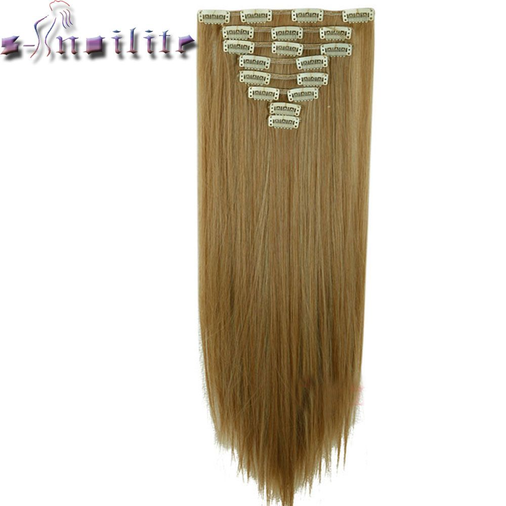 S-noilite 8Pcs Long 24 inches Striaght Real Thick Full Head Clip in on Hair Extensions Natural Synthetic Hairpieces for human