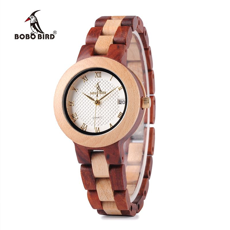 BOBO BIRD Two-tone Timepieces Wooden Watch for Women Brand Design Quartz Lady Watches in Wood Box Accept Customize