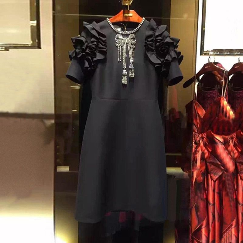 Autumn Runway Designer Black Mini Dress Women's 2018 Fashion Ruffles Crystal Beading Summer A Line Dresses Plus Size Clothing